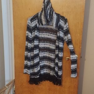 Long Hooded Striped Sweater